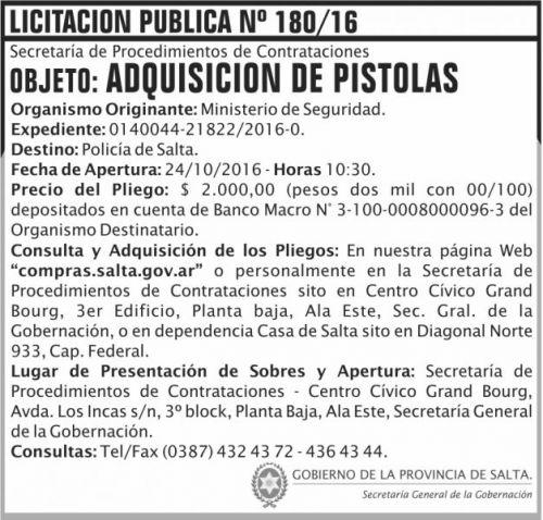 Licitación: Adquisición de pistolasa