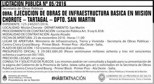 Licitación: Licitación Pública Nº 05/2016