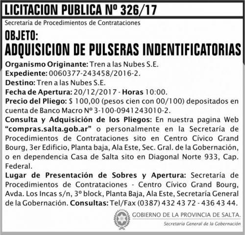 Licitación: Licitacion Publica 326 SGG