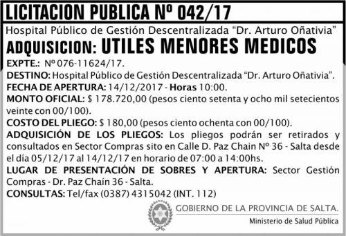 Licitación: Licitación Pública 42 MSP Oñativia 2x5 ND