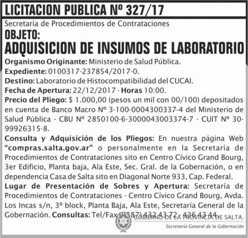 Licitación: Licitacion Publica 327 SGG MSP
