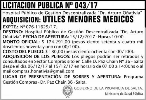 Licitación: Licitación Pública 43 MSP Oñativia 2x5 ND