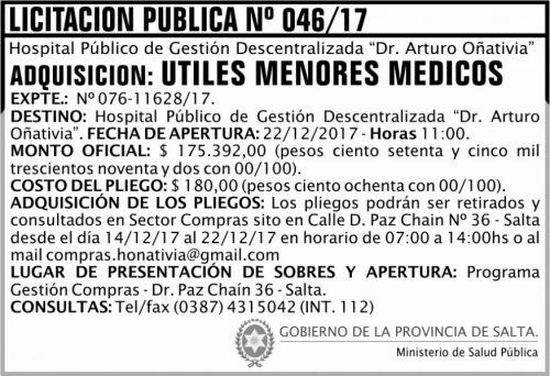Licitación: Licitación Pública Nº 46