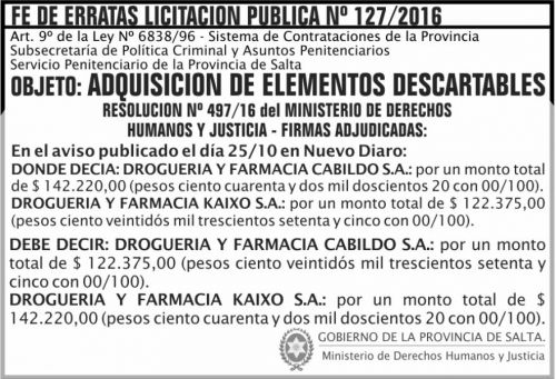 Edictos / Comunicados: De de Erratas Licitación Pública Nº 127/2016