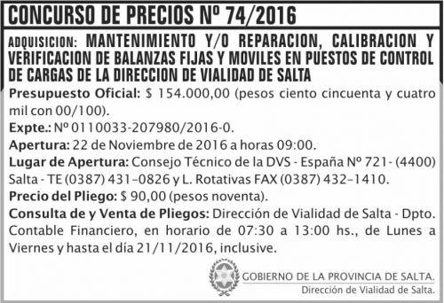 Concurso de Precios: Concurso de Precios Nº 74/2016