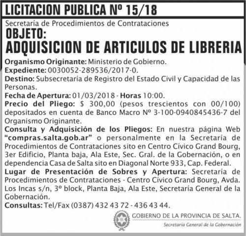 Licitación: Licitacion Publica 15 SGG MG