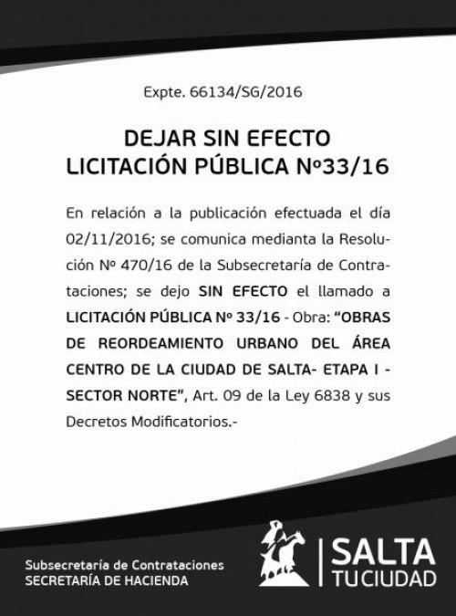Licitación: Licitación Pública 33/16
