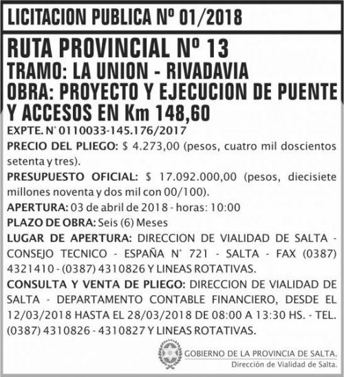 Licitación: Licitacion Publica 01 DVS