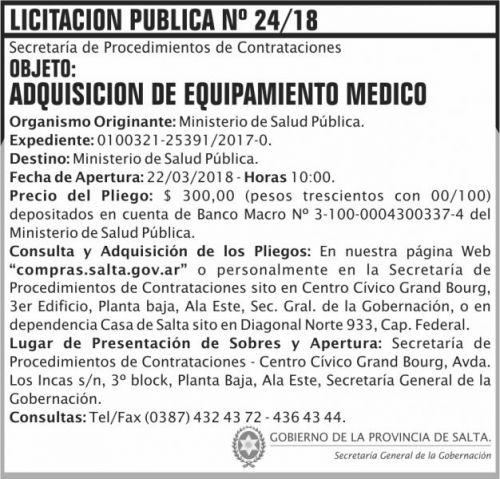 Licitación: Licitacion Publica 24 SGG MSP