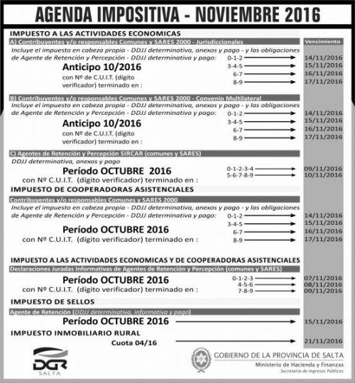 Edictos / Comunicados: Agenda Impositiva - Noviembre 2016