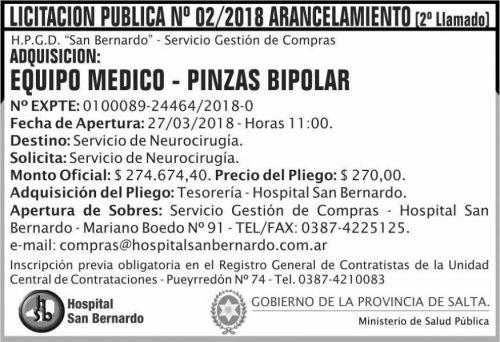 Licitación: Licitacion Publica 02 2do Llamado MSP SB