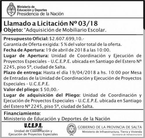 Licitación: Licitacion Publica 03 MEDN Ucepe