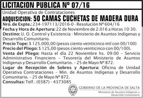 Licitación: Licitación Pública Nº 07/16