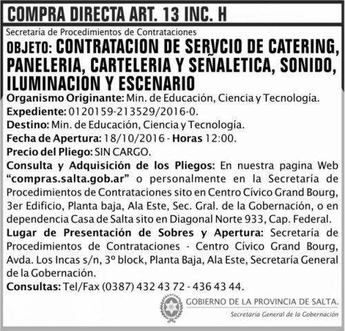 Compra Directa: Contratación de servicio de catering, panelería, cartelería y señaletica, sonido, iluminación y escenario