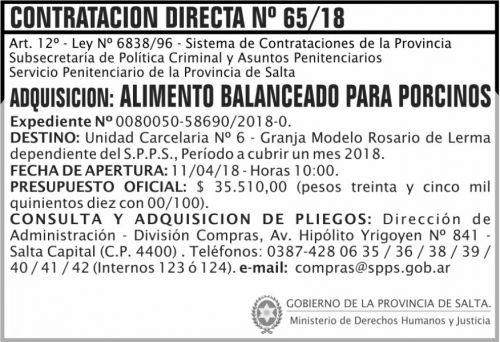 Concurso de Precios: Contratacion Directa 65 SPPS MDHJ