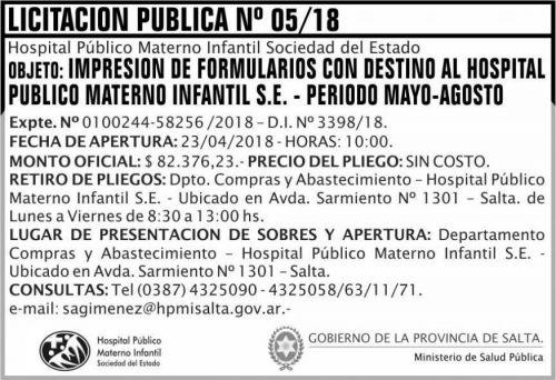 Licitación: Licitacion Publica 04 MSP HPMI