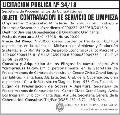 Licitación: Licitacion Publica 34 SGG MPTDS