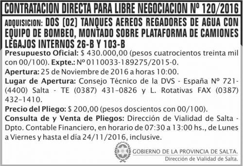 Compra Directa: Contratación Directa Para Libre Negociación Nº 120/2016