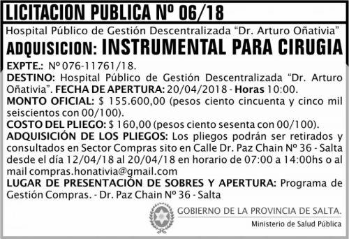 Licitación: Licitación Pública 06