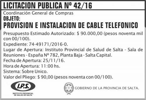 Licitación: Licitación Pública Nº 42/16