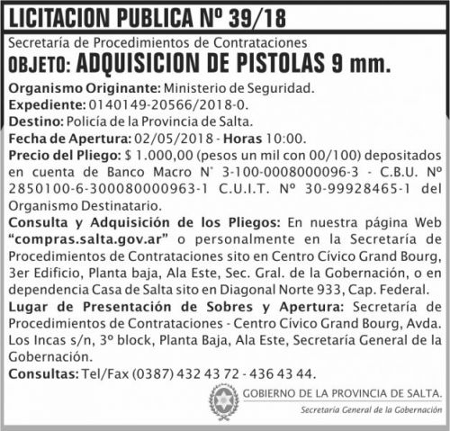 Licitación: Licitacion Publica 39 SGG MS
