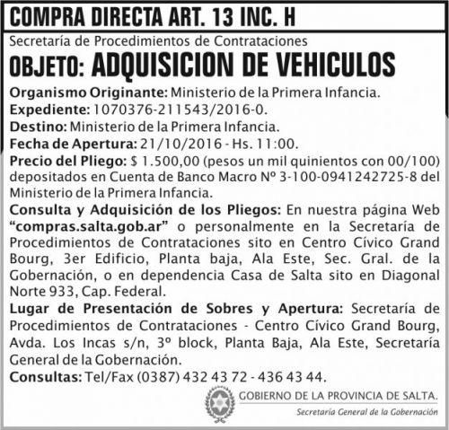 Compra Directa: Adquisición de vehículos