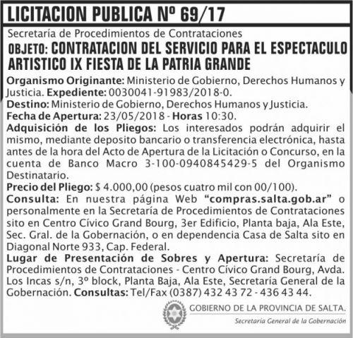 Licitación: Licitacion Publica 69 SGG MG