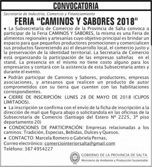 Compra Directa: CONVOCATORIA FERIA CAMINOS Y SABORES 2018