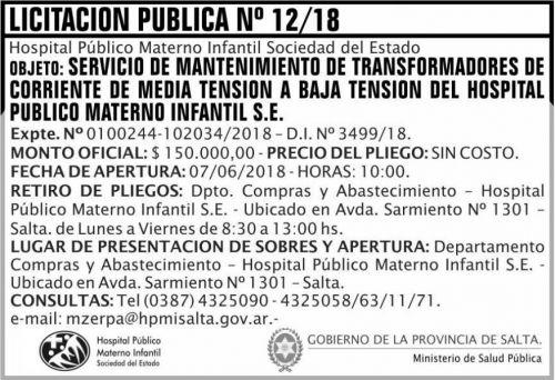 Licitación: Licitacion Publica 12 MSP HPMI