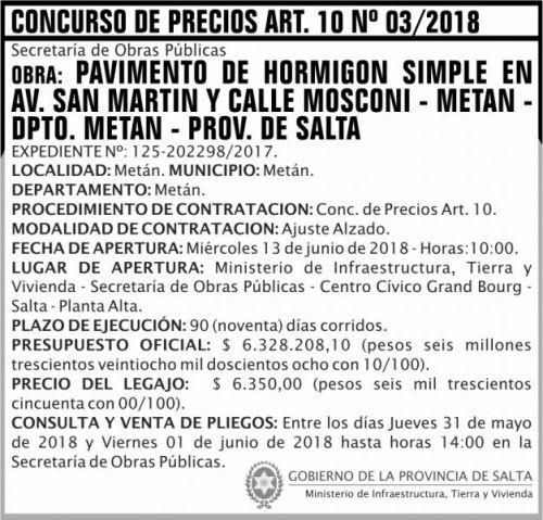 Licitación: Concurso de Precios ART 10 Nº 03 MITV