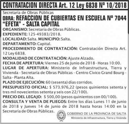 Licitación: Contratacion Directa 10