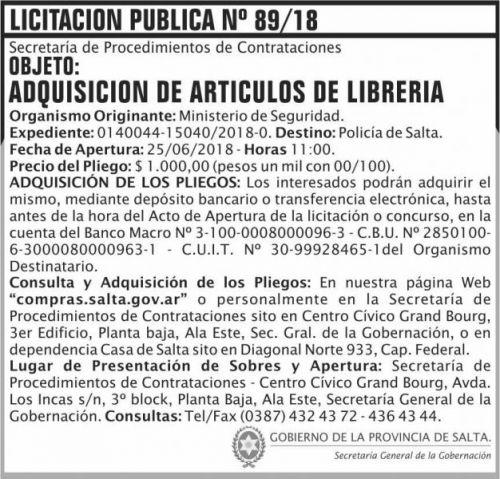 Licitación: Licitacion Publica 89