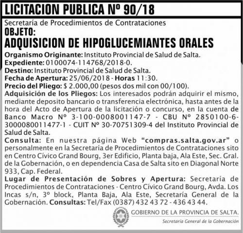 Licitación: Licitacion Publica 90