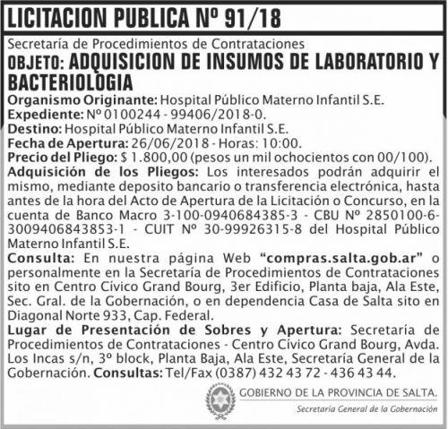 Licitación: Licitacion Publica 91 SGG HPMI