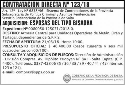 Concurso de Precios: Contratacion Directa 123 SPPS MDHJ 2