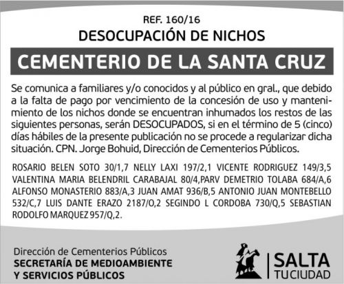 Edictos / Comunicados: DESOCUPACIÓN DE NICHOS