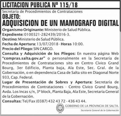 Licitación: Licitacion Publica 115 SGG MSP