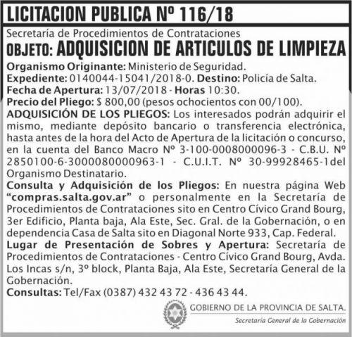 Licitación: Licitacion Publica 116 SGG MS