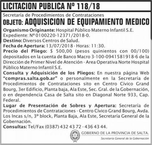 Licitación: Licitacion Publica 118 SGG HPMI