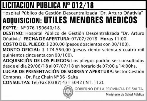 Licitación: Licitación Pública 12 MSP Oñativia