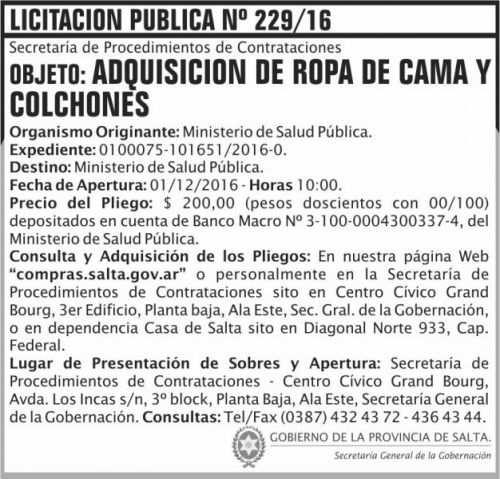 Licitación: Licitación Pública Nº 229/16