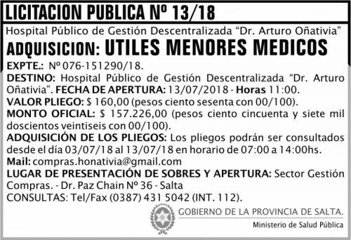 Licitación: Licitación Pública 13 MSP Oñativia