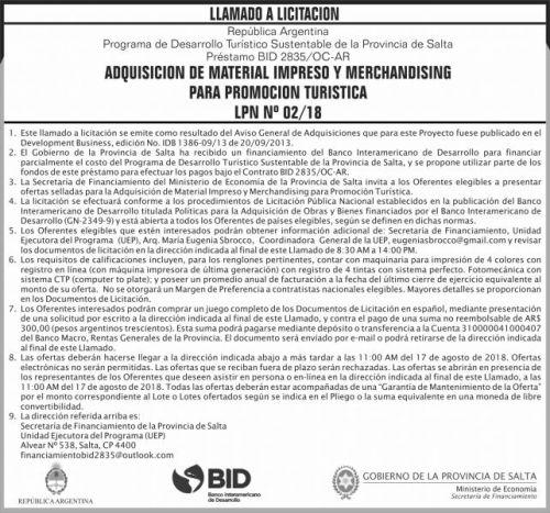 Licitación: Licitacion Publica nacional Nº 02 SF ME