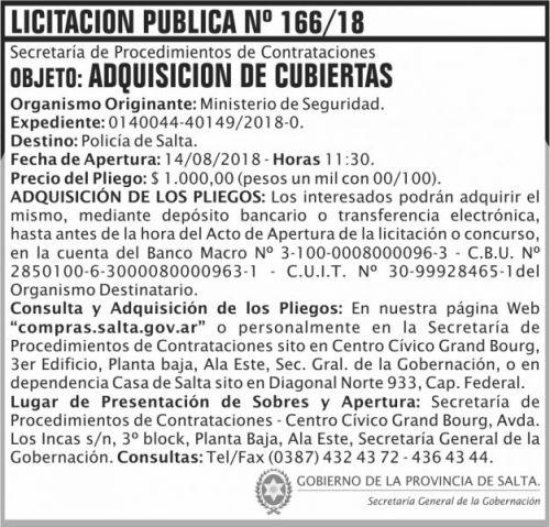 Licitación: Licitacion Publica 166 SGG MS