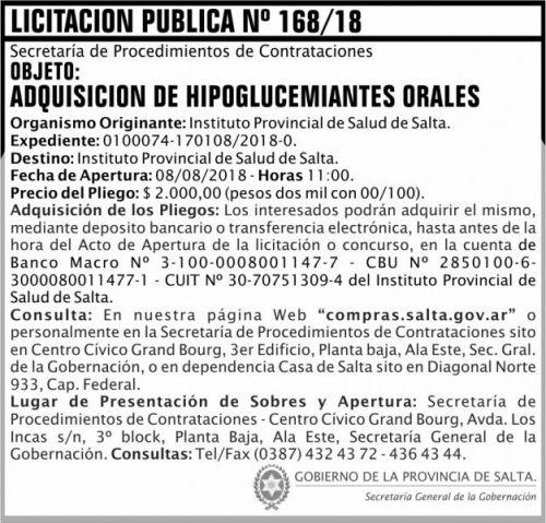 Licitación: Licitacion Publica 168 SGG IPS