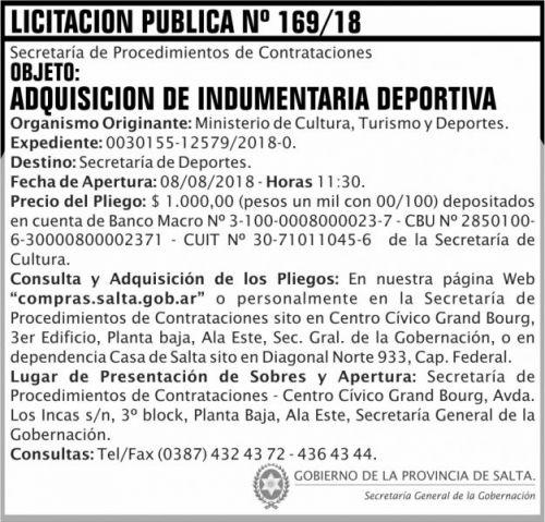 Licitación: Licitacion Publica 169 SGG MCTD