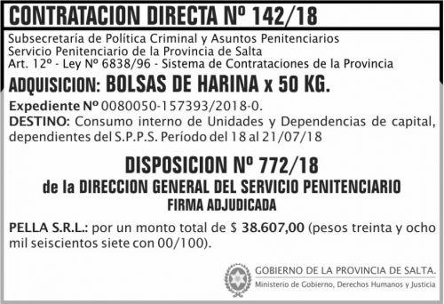 Concurso de Precios: Contratacion Directa Adjudicada 142 SPPS MDHJ