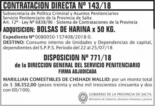 Licitación: Contratacion Directa Adjudicada 143 SPPS MDHJ