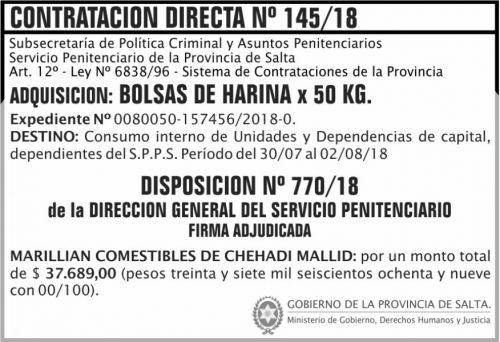 Licitación: Contratacion Directa Adjudicada 145 SPPS MDHJ