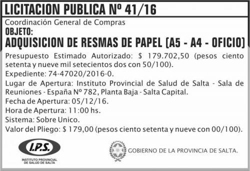 Licitación: Licitación Pública Nº 41/16